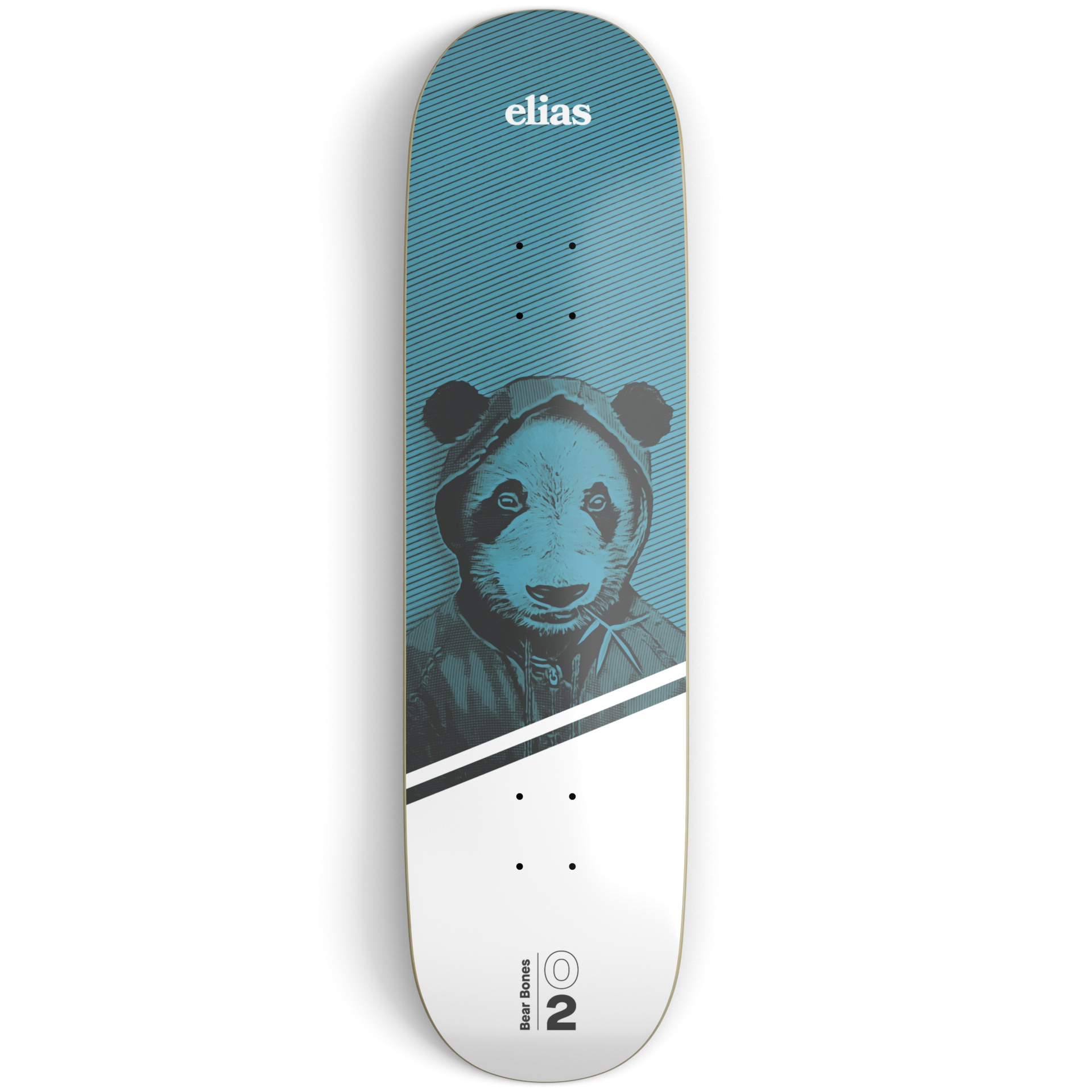 Blue and white skateboard deck on a light grey surface printed with an illustration of a panda bear and white and black text
