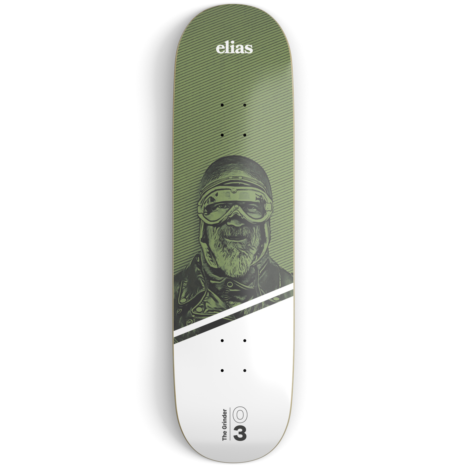 Green and white skateboard deck on a light grey surface printed with an illustration of an old fashion aviator and white and black text