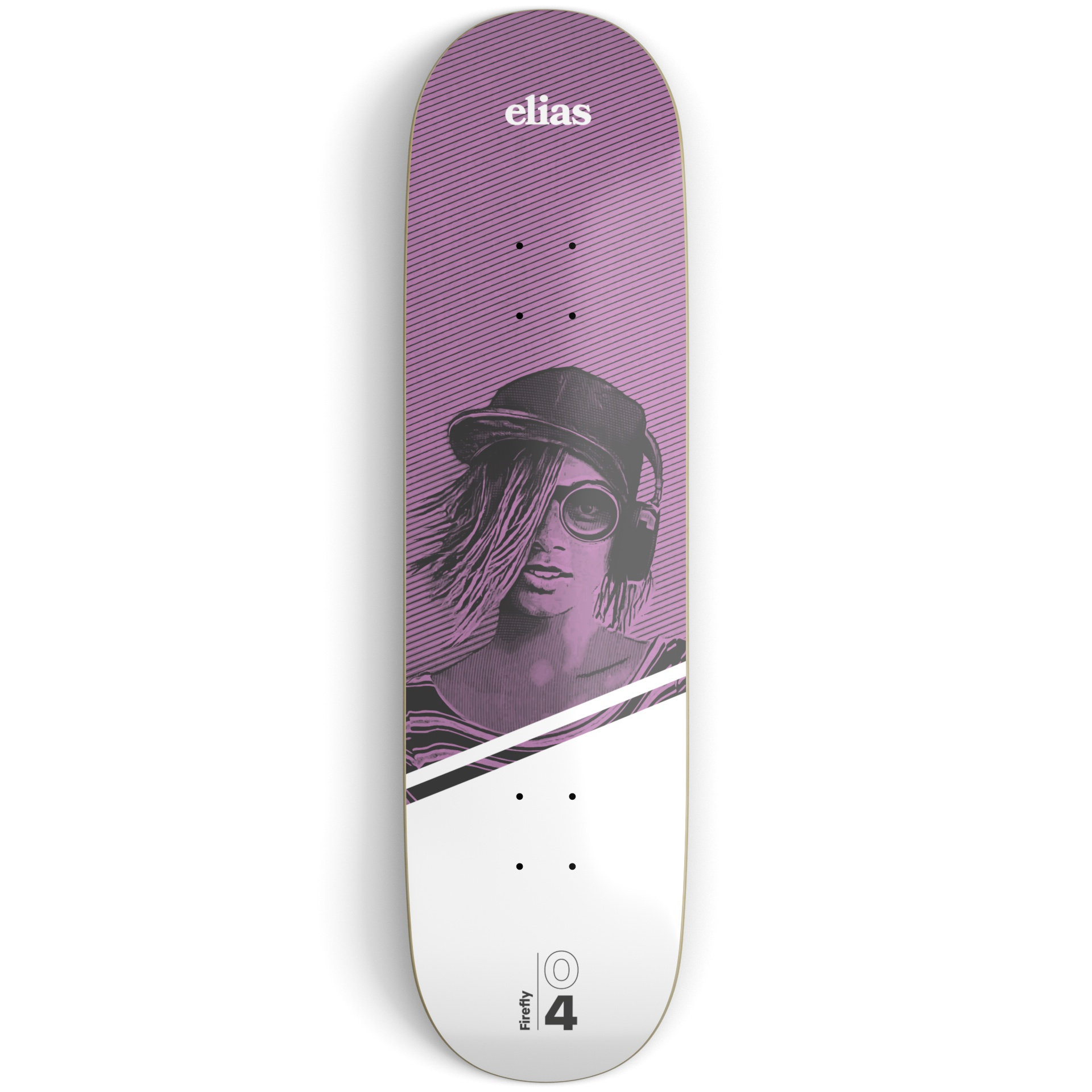 Purple and white skateboard deck on a light grey surface printed with an illustration of a girl wearing headphones and white and black text
