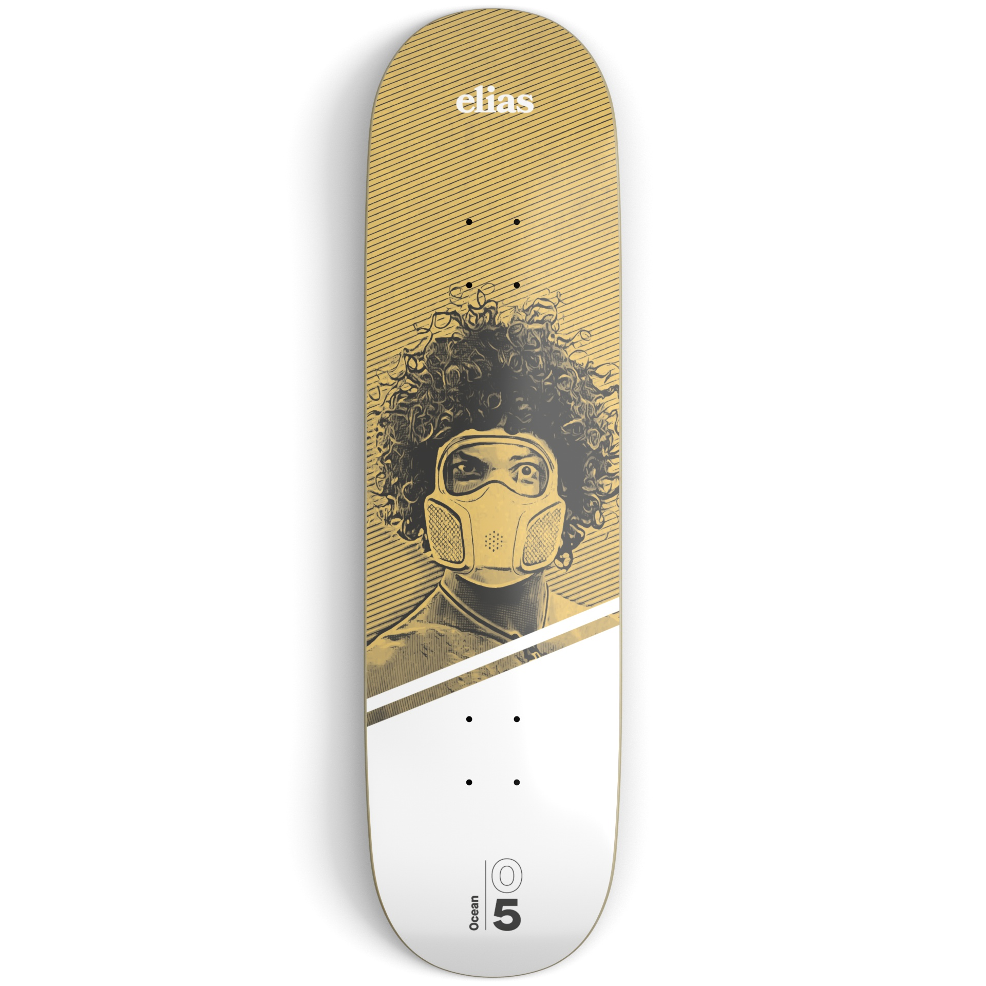 Yellow and white skateboard deck on a light grey surface printed with an illustration of a guy wearing a gas mask and white and black text