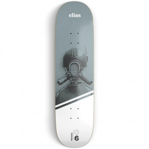 Grey and white skateboard deck on a light grey surface printed with an illustration of a robot and white and black text